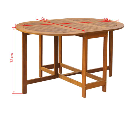 vidaXL dārza galds ar nolaižamu galda virsmu, akācijas koks, ovāls[5/5]