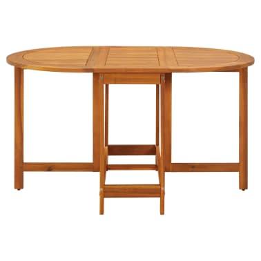 vidaXL dārza galds ar nolaižamu galda virsmu, akācijas koks, ovāls[2/5]