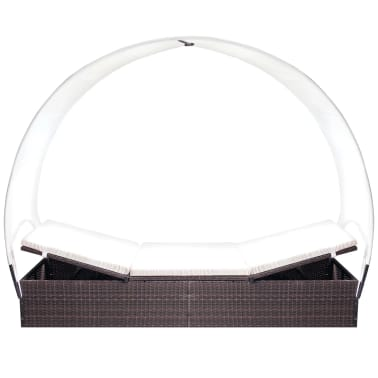 vidaXL Sun Lounger with Canopy Poly Rattan Brown[3/6]