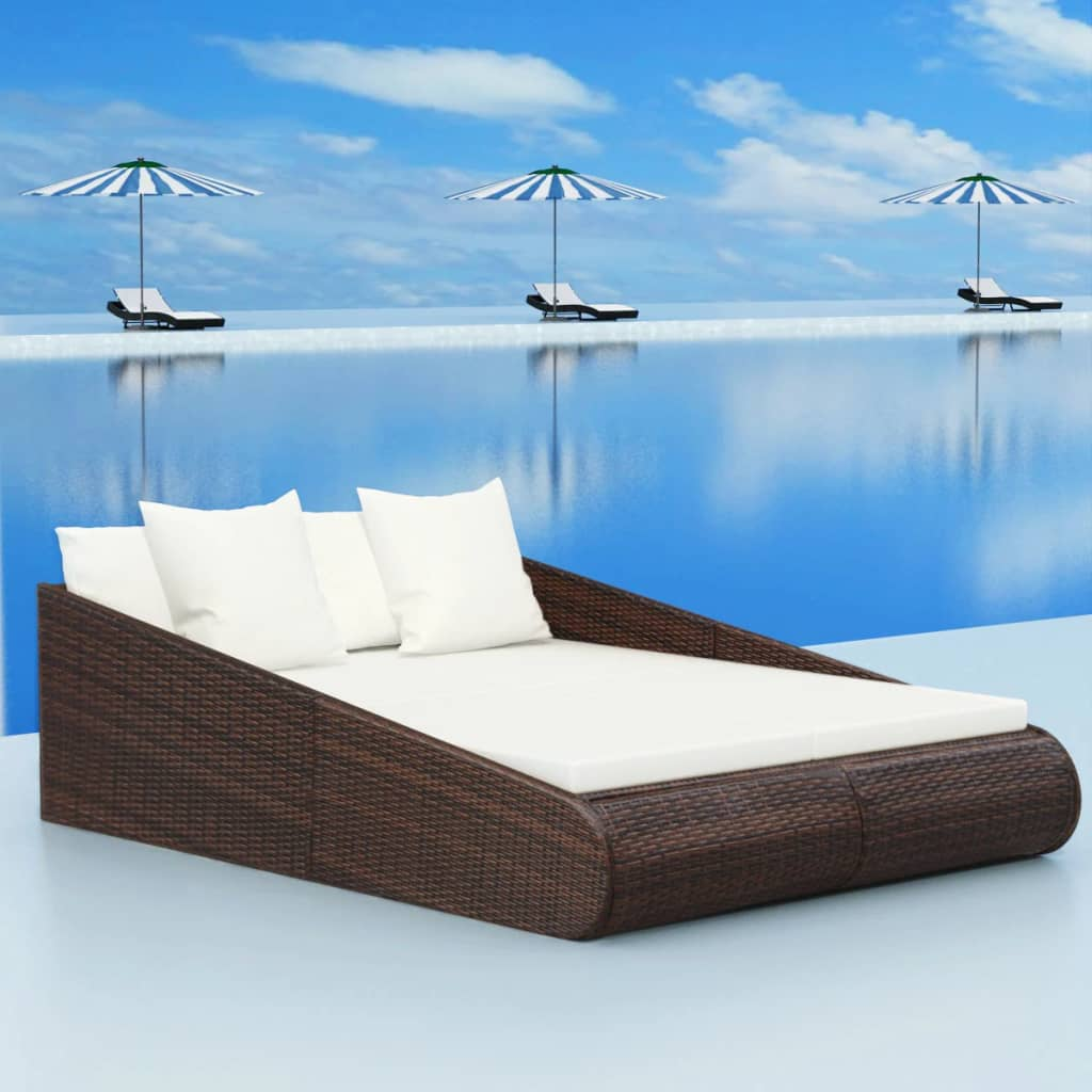 vidaXL Daybed Poly Rattan 201x139x58 cm Brown
