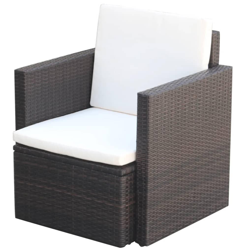 vidaXL Zahradní židle s poduškami a polštáři polyratan hnědá