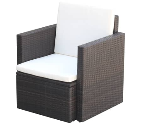 vidaXL Garden Chair with Cushions and Pillows Poly Rattan Brown