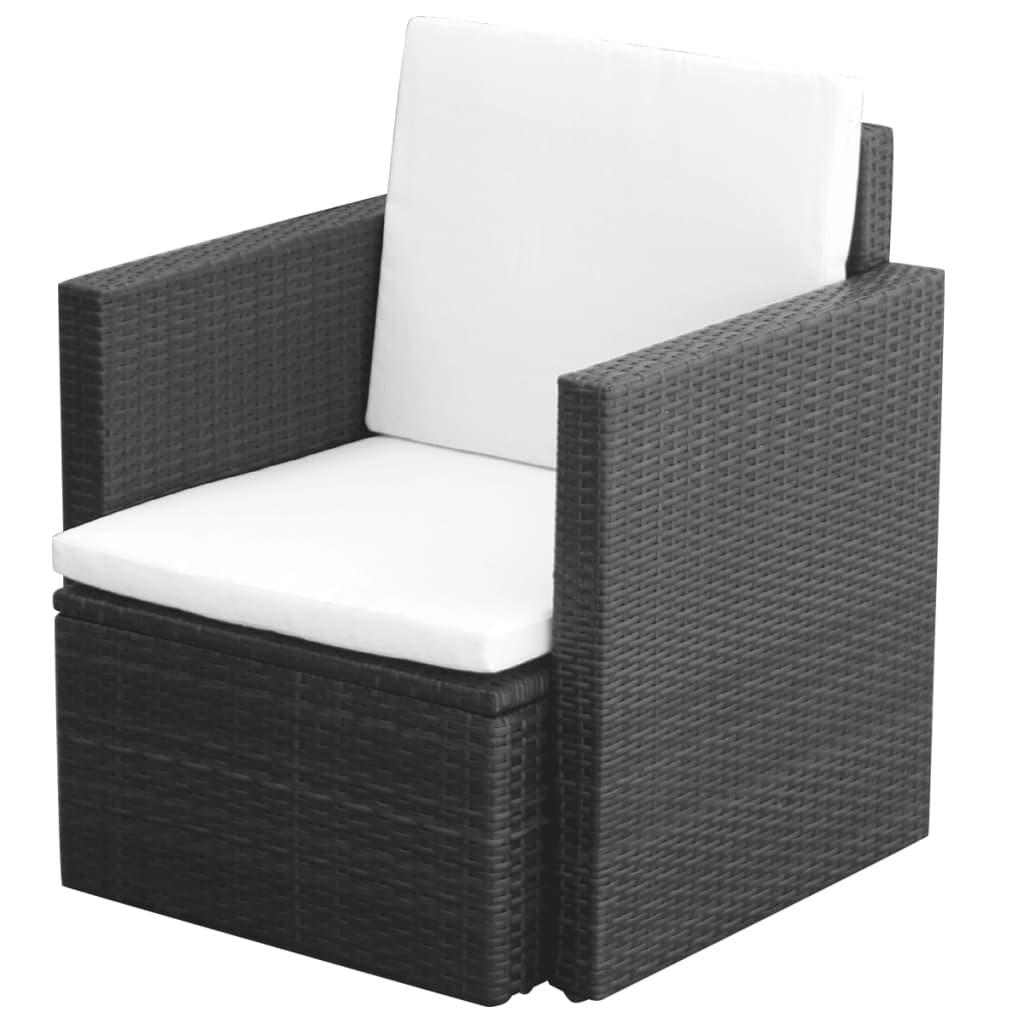vidaXL Πολυθρόνα Εξωτερικού Χώρου Μαύρη Συνθετικό Ρατάν με Μαξιλάρια