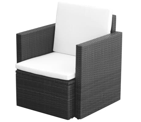 vidaXL Garden Chair with Cushions and Pillows Poly Rattan Black[1/5]
