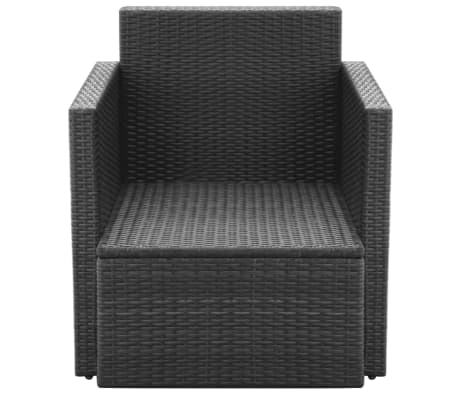 vidaXL Garden Chair with Cushions and Pillows Poly Rattan Black[4/5]