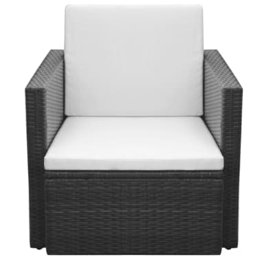 vidaXL Garden Chair with Cushions and Pillows Poly Rattan Black[2/5]