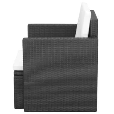 vidaXL Garden Chair with Cushions and Pillows Poly Rattan Black[3/5]