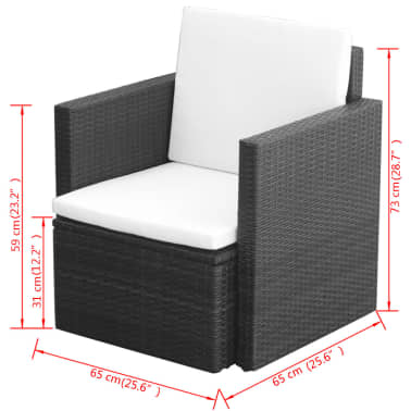 vidaXL Garden Chair with Cushions and Pillows Poly Rattan Black[5/5]
