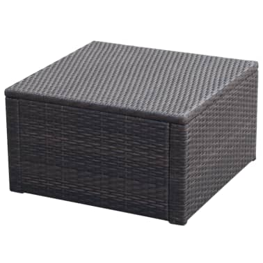 vidaxl hocker mit kissen poly rattan 53 53 30 cm braun g nstig kaufen. Black Bedroom Furniture Sets. Home Design Ideas