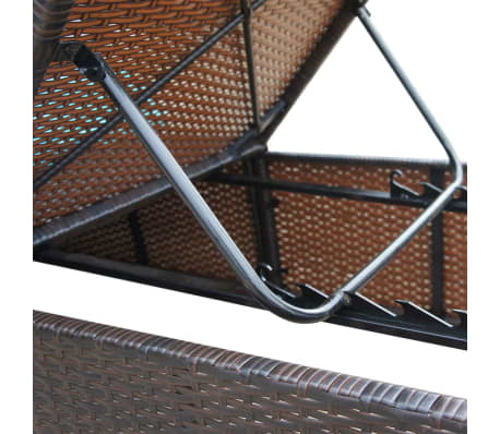 vidaXL Sun Lounger with Cushion Poly Rattan Brown[7/8]