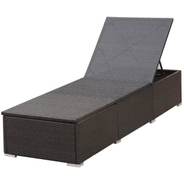 vidaXL Sun Lounger with Cushion Poly Rattan Brown[4/8]