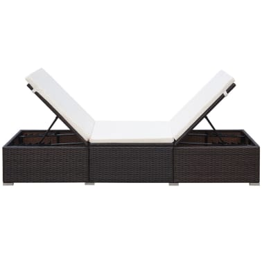 vidaXL Sun Lounger with Cushion Poly Rattan Brown[5/8]