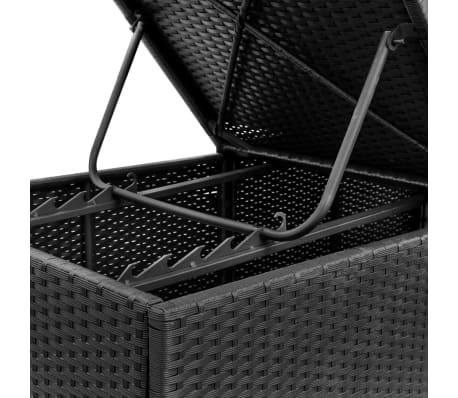 "vidaXL Sunlounger with White Cushion Black Poly Rattan 76.8""x23.6""x12.2""[8/9]"