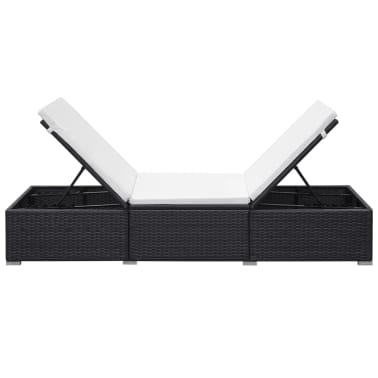 "vidaXL Sunlounger with White Cushion Black Poly Rattan 76.8""x23.6""x12.2""[4/9]"