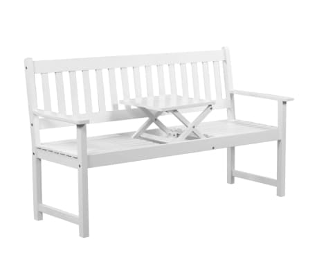 Phenomenal Vidaxl Garden Bench With Pop Up Table 62 2 Solid Acacia Wood White Ncnpc Chair Design For Home Ncnpcorg