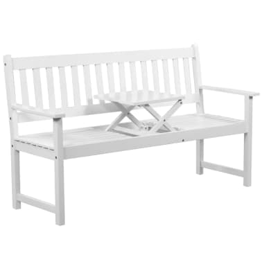 "vidaXL Garden Bench with Pop-up Table 62.2"" Solid Acacia Wood White[1/5]"
