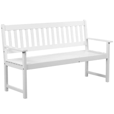 "vidaXL Garden Bench with Pop-up Table 62.2"" Solid Acacia Wood White[2/5]"