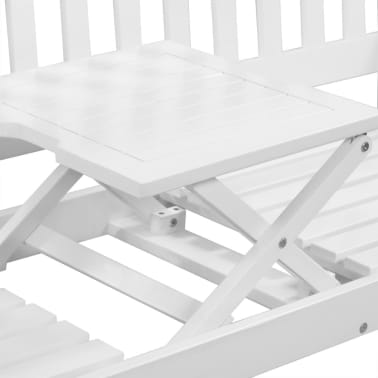 "vidaXL Garden Bench with Pop-up Table 62.2"" Solid Acacia Wood White[4/5]"