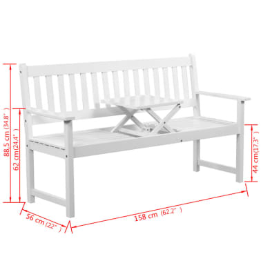 "vidaXL Garden Bench with Pop-up Table 62.2"" Solid Acacia Wood White[5/5]"