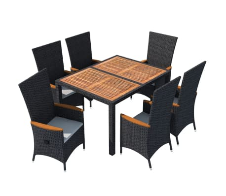 vidaxl garten essgruppe 13 tlg schwarz poly rattan akazienholz xxl zum schn ppchenpreis. Black Bedroom Furniture Sets. Home Design Ideas