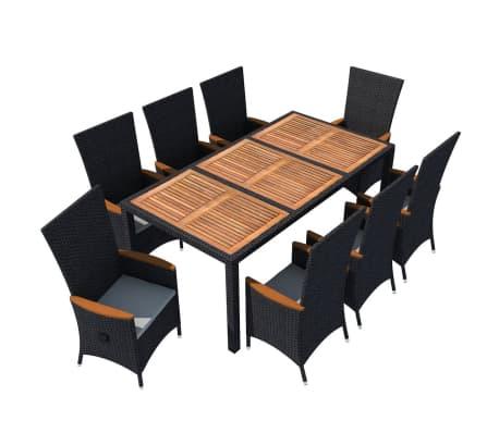 vidaXL Meuble à dîner d'extérieur 9 pcs Résine tressée et acacia Noir[2/11]