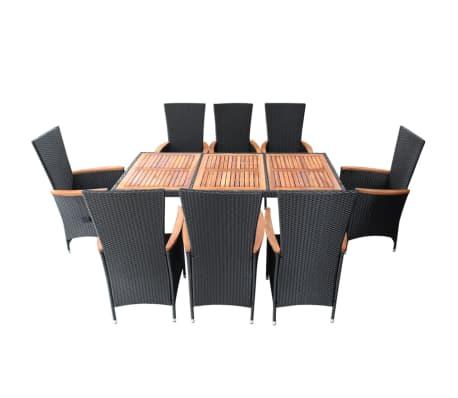 vidaXL Meuble à dîner d'extérieur 9 pcs Résine tressée et acacia Noir[3/11]