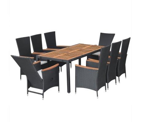 vidaXL Meuble à dîner d'extérieur 9 pcs Résine tressée et acacia Noir[4/11]