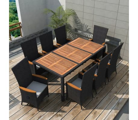 Vidaxl Outdoor Dining Set 17 Pieces Black Poly Rattan Acacia Wood L 1 11