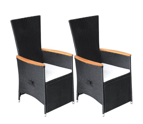 vidaxl verstellbare gartenst hle 2 stk poly rattan akazienholz g nstig kaufen. Black Bedroom Furniture Sets. Home Design Ideas