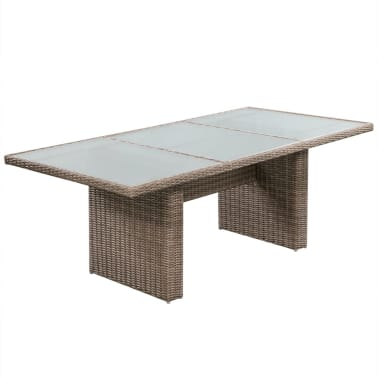 vidaxl garten essgruppe 17 tlg poly rattan braun g nstig kaufen. Black Bedroom Furniture Sets. Home Design Ideas