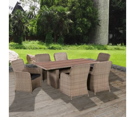 vidaxl garten essgruppe 13 tlg poly rattan akazienholz tischplatte zum schn ppchenpreis. Black Bedroom Furniture Sets. Home Design Ideas