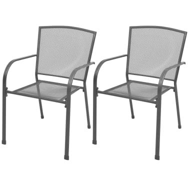 vidaXL Stapelbare Gartenstühle 2 Stk. Stahl Grau[1/6]