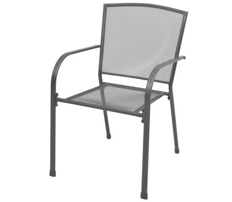 vidaXL Stapelbare Gartenstühle 2 Stk. Stahl Grau[2/6]