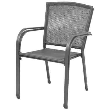 vidaXL Stapelbare Gartenstühle 2 Stk. Stahl Grau[3/6]