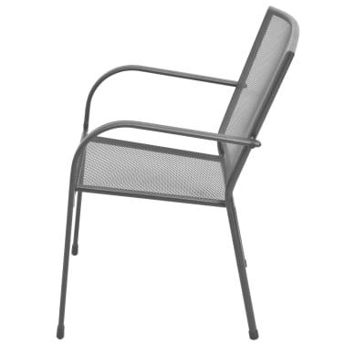 vidaXL Stapelbare Gartenstühle 2 Stk. Stahl Grau[4/6]