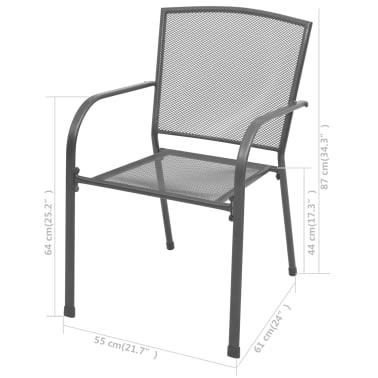 vidaXL Stapelbare Gartenstühle 2 Stk. Stahl Grau[6/6]