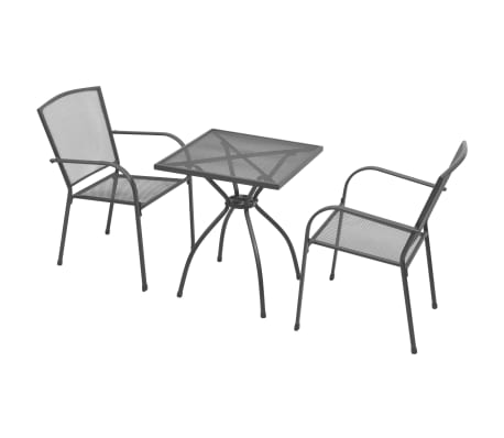 vidaXL 3 Piece Bistro Set Steel Anthracite