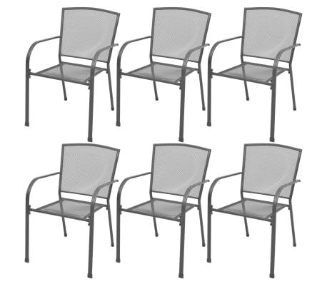 vidaXL Garten-Essgruppe 7-tlg. Stahlgewebe[3/9]