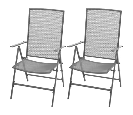 vidaXL Stapelbare Gartenstühle 2 Stk. Stahl Grau[1/8]