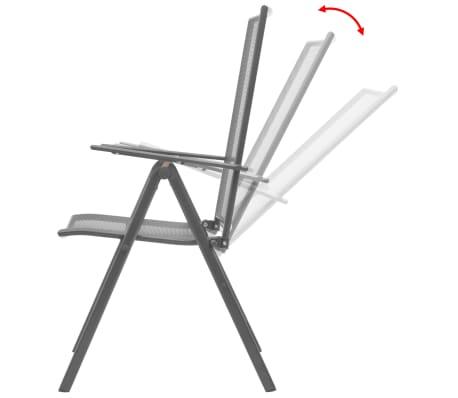 vidaXL Stapelbare Gartenstühle 2 Stk. Stahl Grau[2/8]