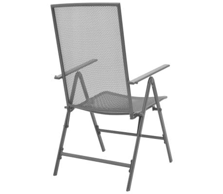 vidaXL Stapelbare Gartenstühle 2 Stk. Stahl Grau[4/8]