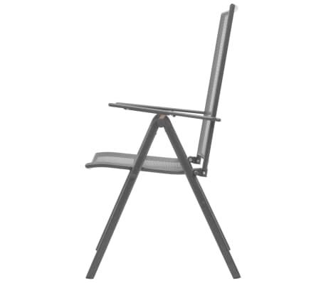 vidaXL Stapelbare Gartenstühle 2 Stk. Stahl Grau[5/8]