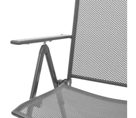 vidaXL Stapelbare Gartenstühle 2 Stk. Stahl Grau[7/8]