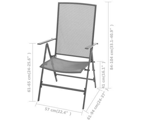 vidaXL Chaises empilables de jardin 2 pcs Acier Gris[8/8]