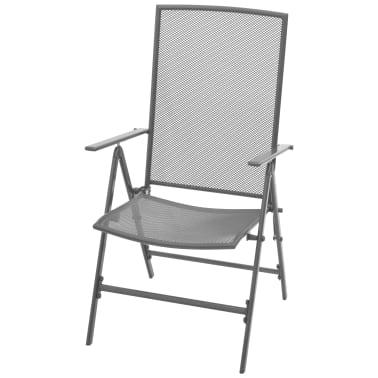 vidaXL Stapelbare Gartenstühle 2 Stk. Stahl Grau[3/8]