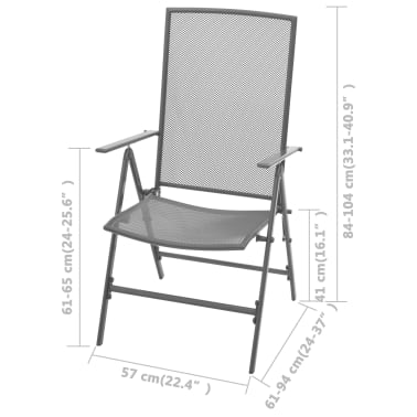vidaXL Stapelbare Gartenstühle 2 Stk. Stahl Grau[8/8]