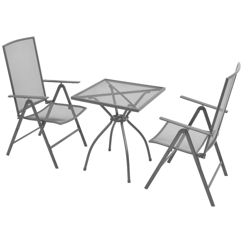 Vidaxl Outdoor Reclining Bistro Set 3 Pieces Steel Mesh