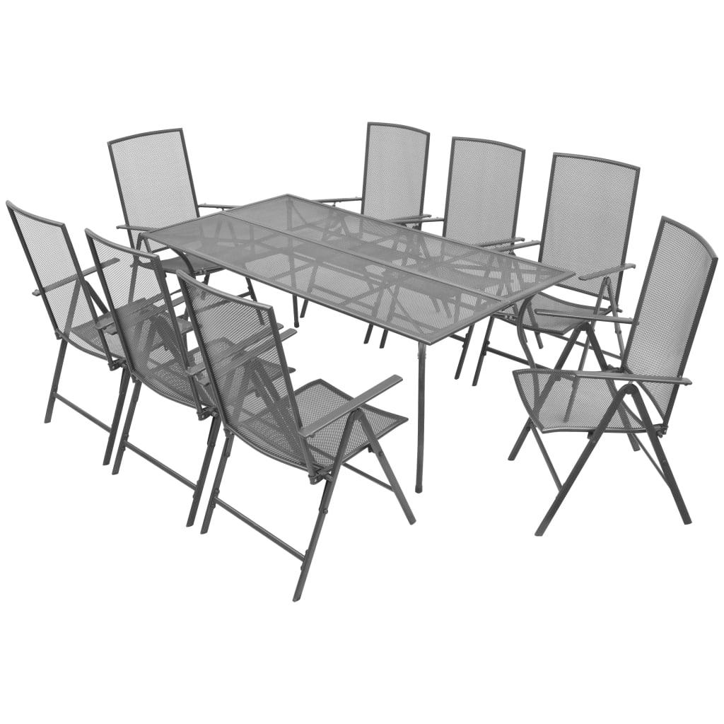 vidaXL 9dílný venkovní jídelní set, polohovatelný, ocelové pletivo