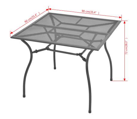 vidaXL Mesa de jardín de malla de acero 90x90x72 cm [3/3]