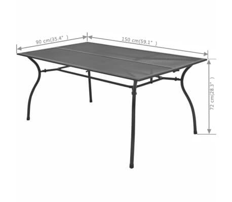 vidaXL Table de salle à manger d'extérieur Acier Treillis 150x90x72 cm[3/3]